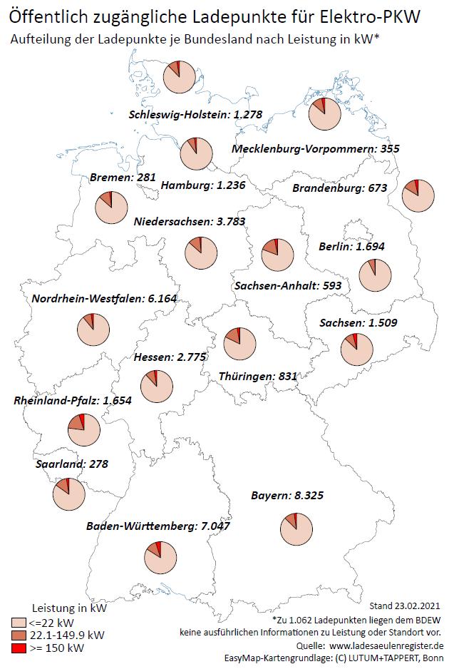 E-Mobilität: öffentliche Ladepunkte je Bundesland und Leistung